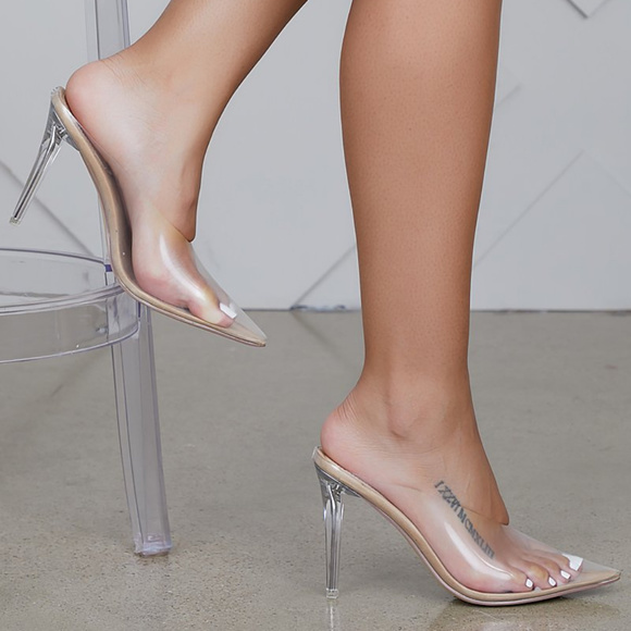 Womens Nude Clear Pointed Toe Mule Heels